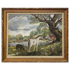 Beautiful Oil on fiberboard Vintage American naive folk Art painting illegibly signed