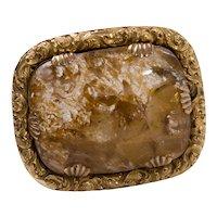 Antique Georgian 15ct Yellow Gold & Rock Crystal Specimen Brooch
