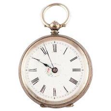 Antique Victorian Swiss 800 Silver Ladies Pocket Watch