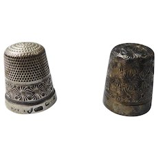 Pair / Two Antique Art Deco Sterling Silver Charles Horner Thimbles – Dorcas 7