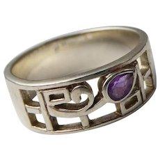 Vintage Sterling Silver & Amethyst Celtic Scottish Ring