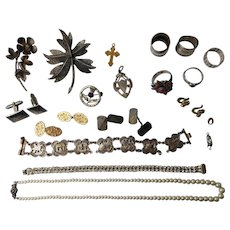 Job Lot Vintage Antique Silver Jewellery, Egyptian bracelet, Rings, Brooches, Siam Cufflinks