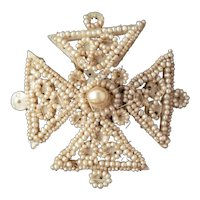 Antique Georgian 9ct Gold, Mother of Pearl & Seed Pearl Maltese Cross Brooch