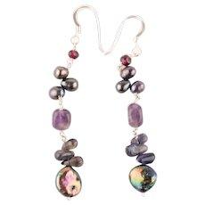 Vintage Sterling Silver Pearl, Iolite, Garnet & Amethyst Drop Earrings