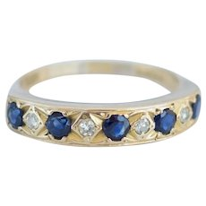 Vintage 18ct Yellow Gold Sapphire & Diamond Half Eternity Ring – Size R