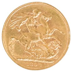 Antique Victorian 1898 Victoria 22ct Gold Full Sovereign Coin