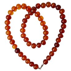 Vintage Orange Amber Beads Necklace