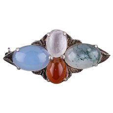 Vintage Art Deco Sterling Silver Moss Agate Chalcedony Rock Crystal Brooch