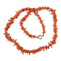 Antique Victorian Natural Salmon Branch Coral Necklace