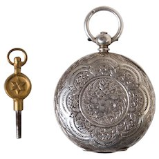 Antique Victorian Chester Sterling Silver Ladies Pocket Watch with Key