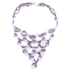 Coleman Douglas Pearls Amethyst & Aquamarine Festoon Necklace