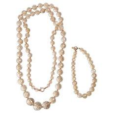 Victorian Straw / Lemon Citrine Bead Necklace and Bracelet
