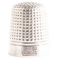 Antique Art Deco Sterling Silver Charles Horner Dorcas 5 Thimble