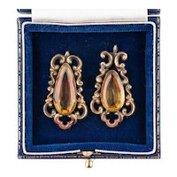 Pair Antique Victorian 15ct Yellow Gold & Citrine Pendants