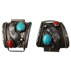 Vintage Navajo Yazzie? Silver, Turquoise & Coral Watch Strap Tips