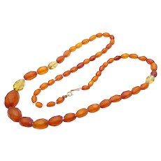 Antique Art Deco 9ct Yellow Gold Amber Beads Necklace
