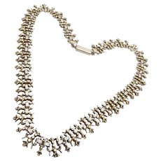 Antique Victorian Sterling Silver Gilt Gold Washed Book Chain Necklace