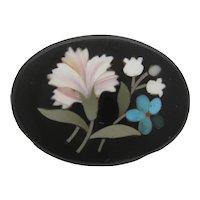 Antique Victorian Pietra Dura Flower Brooch