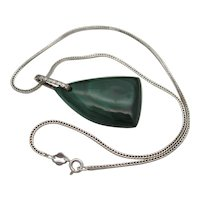 Vintage Sterling Silver Malachite Fox Chain Pendant Necklace