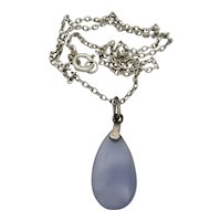Antique Art Deco Sterling Silver, Marcasite & Blue Chalcedony Agate Pendant Necklace