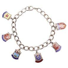 Vintage Sterling Silver Charm Bracelet, Scottish Town Shields – Aberdeen, Montrose