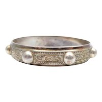Antique Victorian Continental Silver Aesthetic Movement Bangle