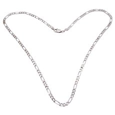 Vintage Italian Sterling Silver Figaro Chain – 16 Inches