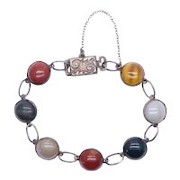 Antique Victorian Scottish Sterling Silver & Bloodstone Chalcedony Agate Bracelet