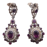 Antique Victorian Austro-Hungarian Silver, Seed Pearl & Amethyst Paste Drop Earrings