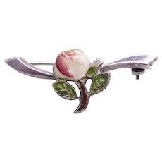 Vintage Sterling Silver & Cold Painted Enamel Rose Brooch