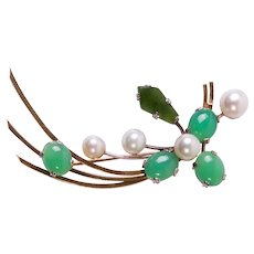 18ct Yellow & White Gold, Cultured Pearl, Jade & Chrysoprase Agate Brooch