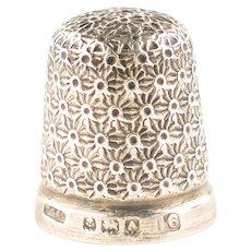 Antique Art Deco Solid Silver Henry Griffiths Thimble – Size 16 - 1925
