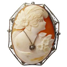 Large Antique Art Deco Sterling Silver & Diamond Shell Cameo Pendant Brooch