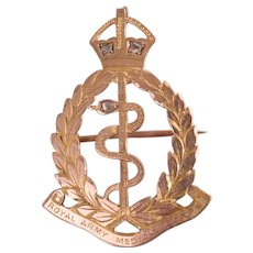 9ct Rose Gold & Diamond RAMC Royal Army Medical Corps Cap Badge