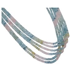 Vintage Natural Morganite, Aquamarine, Yellow Beryl Multi-Strand Necklace