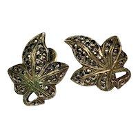 Antique Art Deco Sterling Silver & Marcasite Screw Back Ivy Leaf Earrings