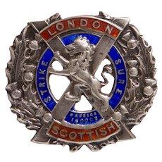 Antique Art Deco TLM Mott London Scottish Regiment Silver Sweetheart Brooch