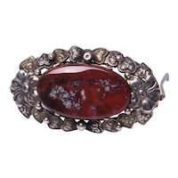 Art Deco Silver Bernard Instone Agate Brooch