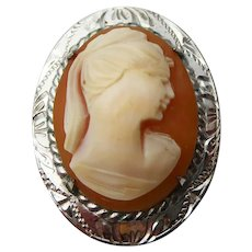Vintage C1970s Sterling Silver Ward Brothers Signed Cameo Brooch
