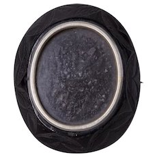 Antique Victorian Carved Whitby Jet Locket Brooch