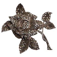 Vintage C1940s Sterling Silver & Marcasite Rose Flower Brooch