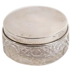 Antique Edwardian Sterling Silver & Cut Glass Lidded Trinket Box