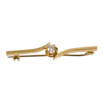 18ct Yellow Gold & Diamond Brooch