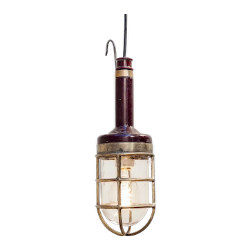 Inspection Lamp with Red Bakelite an Brass, circa 1950