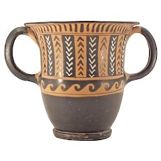 Very Fine South Italian Black Glazed Pottery Sessil Kantharos, 3rd-2nd Century BC
