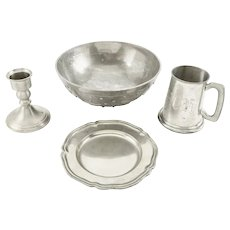 Vintage Pewter. 20th Century, Four Pieces
