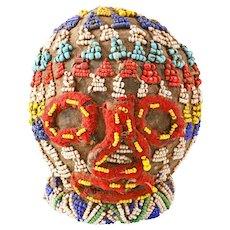 African Beaded Head Battle Trophy