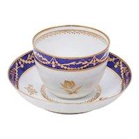 Worcester Export Porcelain Tea Bowl and Under Bowl