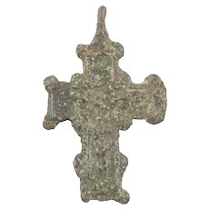 Medieval Bronze Cross Pendant C.1300-1450