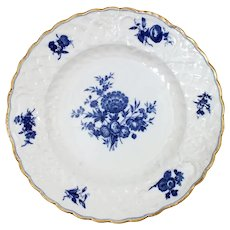 English Blue on White Export Porcelain Plate